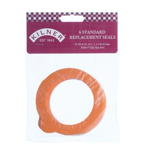 Kilner Replacement Rubber Seals - Orange - 6 Piece